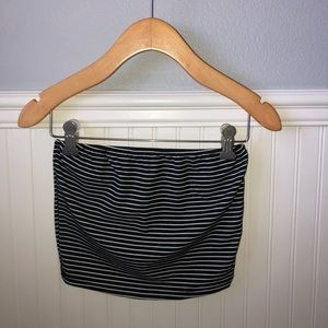 Black and White Striped Tube Top